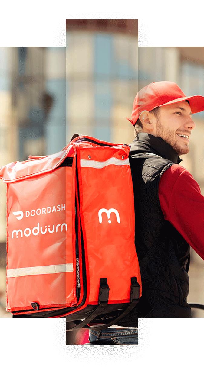 Doordash & Moduurn delivery guy on bicycle